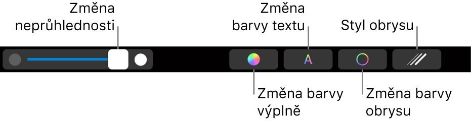 TouchBar na MacBookuPro, na němž jsou vidět ovládací prvky pro úpravu průhlednosti tvaru, změnu barvy výplně, změnu barvy textu, změnu barvy obrysu ataké stylu obrysu
