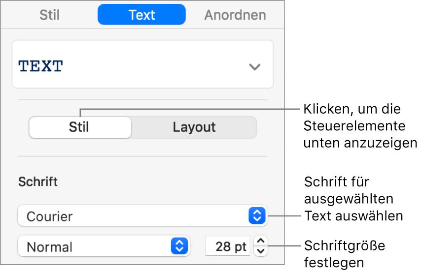 """Textsteuerelemente im Abschnitt """"Stil"""" der Seitenleiste zum Festlegen der Schrift und der Schriftgröße"""