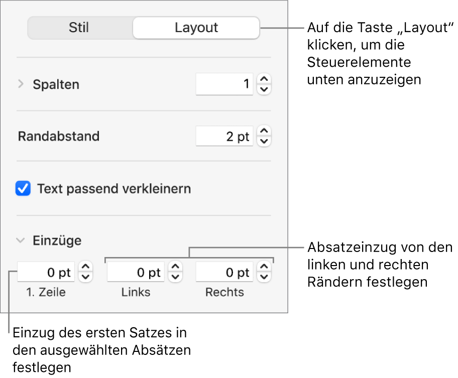 """Der Abschnitt """"Layout"""" der Seitenleiste """"Format"""" mit Steuerelementen zum Festlegen des Einzugs der ersten Zeile und der Absatzränder"""