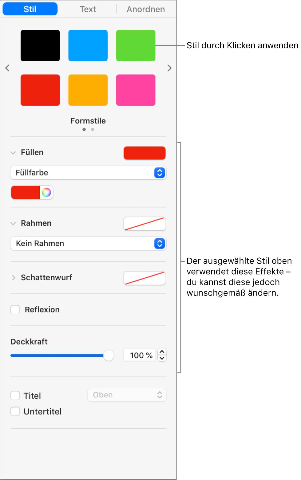 """Formstile und -optionen im Bereich """"Format"""" der Seitenleiste"""