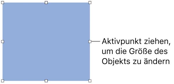 Ein Objekt mit weißen Quadraten am Rahmen zum Ändern der Objektgröße