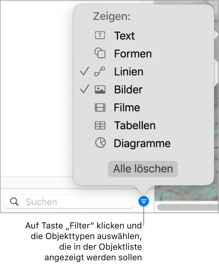 """Das geöffnete Einblendmenü """"Filter"""" mit verschiedenen Objekttypen (Text, Formen, Linien, Bilder, Filme, Tabellen und Diagramme), die in der Liste enthalten sein können"""