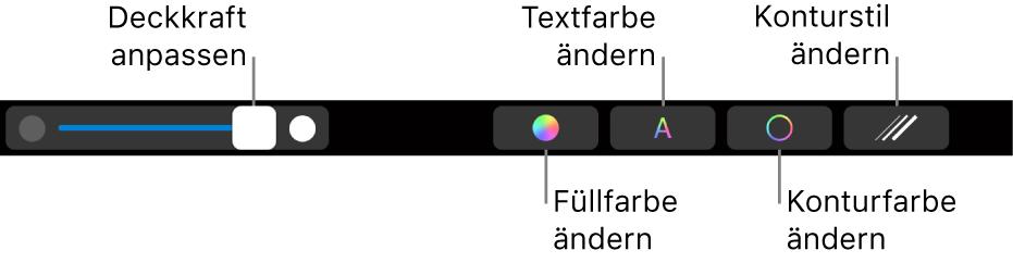 Die MacBook Pro-Touch Bar mit Steuerelementen zum Anpassen der Deckkraft einer Form, Ändern der Füll-, Text- und Konturfarbe sowie des Konturstils.