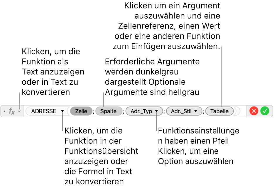 Der Formeleditor mit der Funktion ADRESSE und ihren Argumente-Token