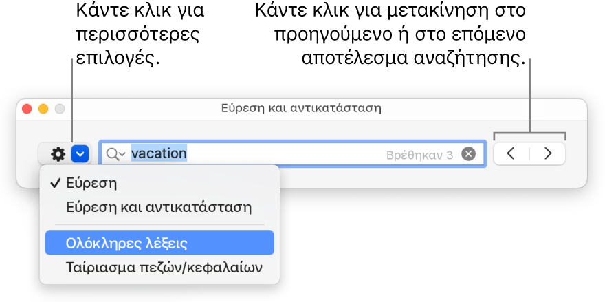 Το παράθυρο «Εύρεση και αντικατάσταση» με επεξηγήσεις στο κουμπί για την εμφάνιση των επιλογών «Εύρεση», «Εύρεση και αντικατάσταση», «Ολόκληρες λέξεις» και «Ταίριασμα πεζών/κεφαλαίων». Τα βέλη στα δεξιά σας επιτρέπουν να μεταφέρεστε στα προηγούμενα ή τα επόμενα αποτελέσματα αναζήτησης.
