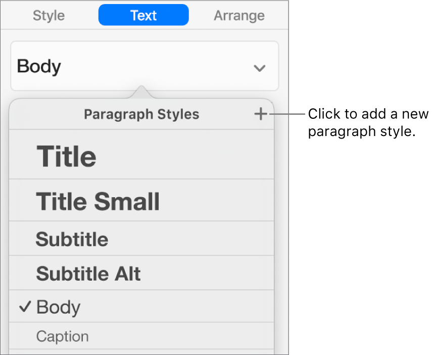 The Paragraph Styles menu with a call-out to the New Style button.