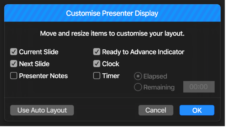 Customise Presenter Display dialog.