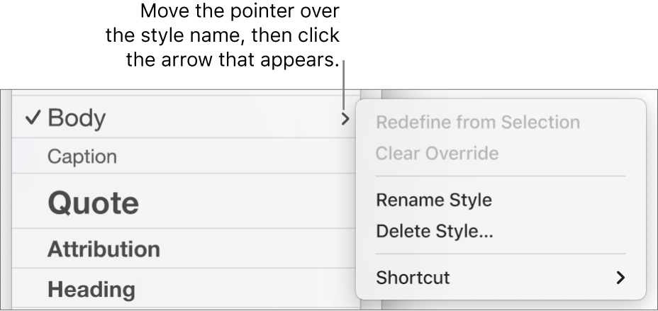 The Paragraph Styles menu with the shortcut menu open.