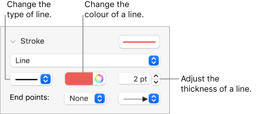 The stroke controls for setting end points, line thickness and colour.