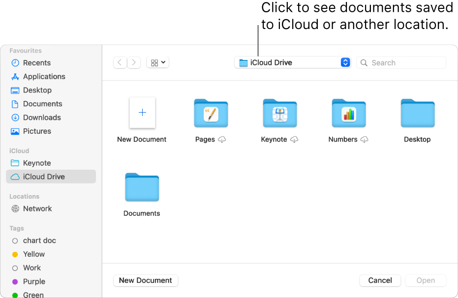 The Open dialogue with the sidebar open on the left and iCloud Drive selected in the pop-up menu at the top. Folders for Keynote, Numbers and Pages appear in the dialogue, along with a New Document button.