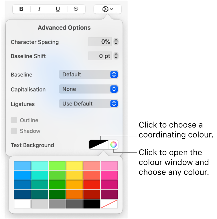 Controls for choosing a background colour for text.