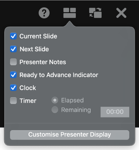 The presenter display options, including Current Slide, Next Slide, Presenter Notes, Ready to Advance Indicator, Clock and Timer. The timer has additional options to show either the time elapsed or the time remaining.