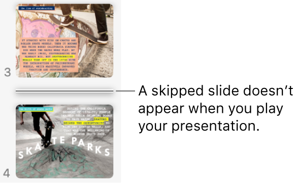 The slide navigator with a skipped slide showing as a horizontal line.