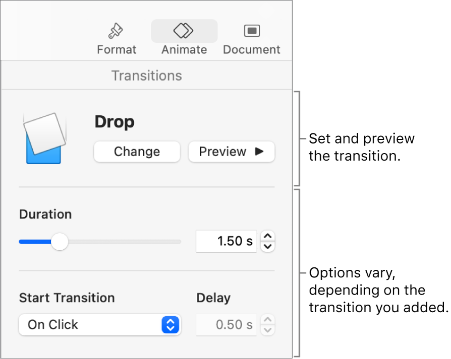 Transition controls in Transitions section of the sidebar.