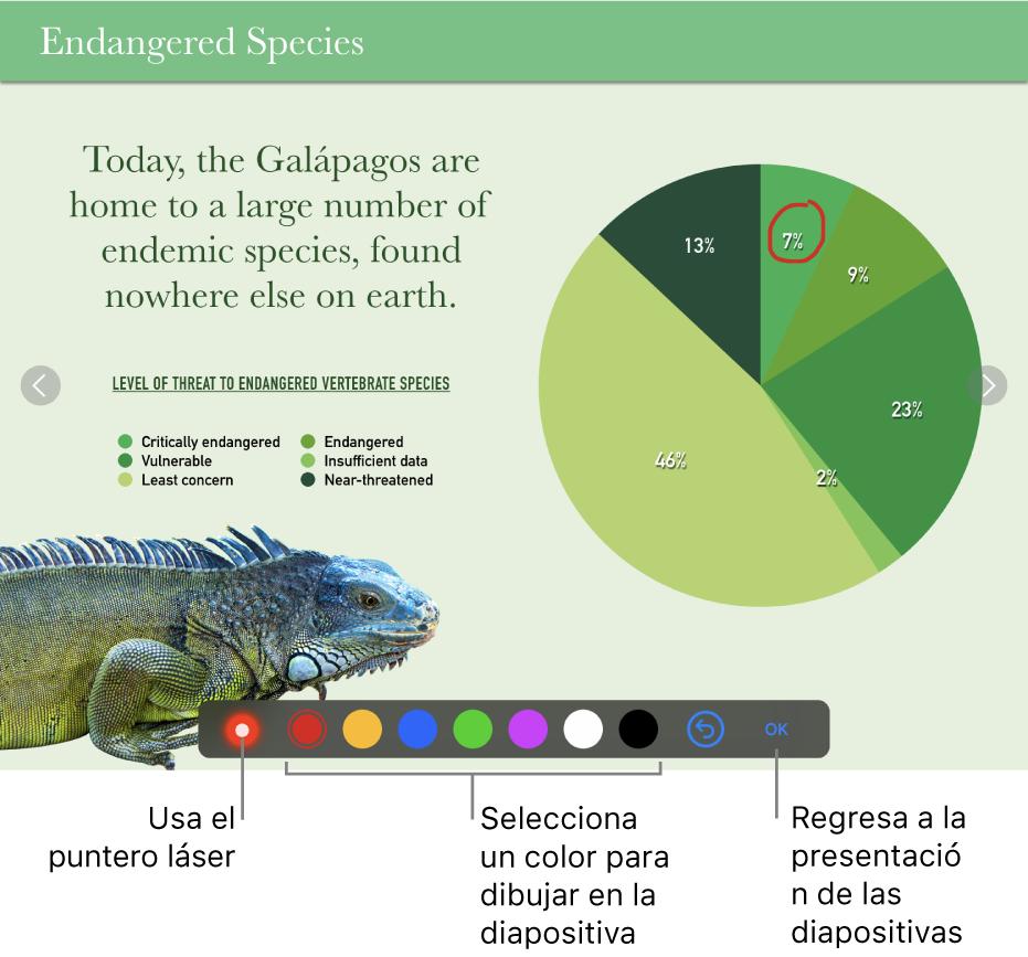 Una diapositiva en el modo de ilustración de diapositiva con el puntero láser y los controles de selección de color.