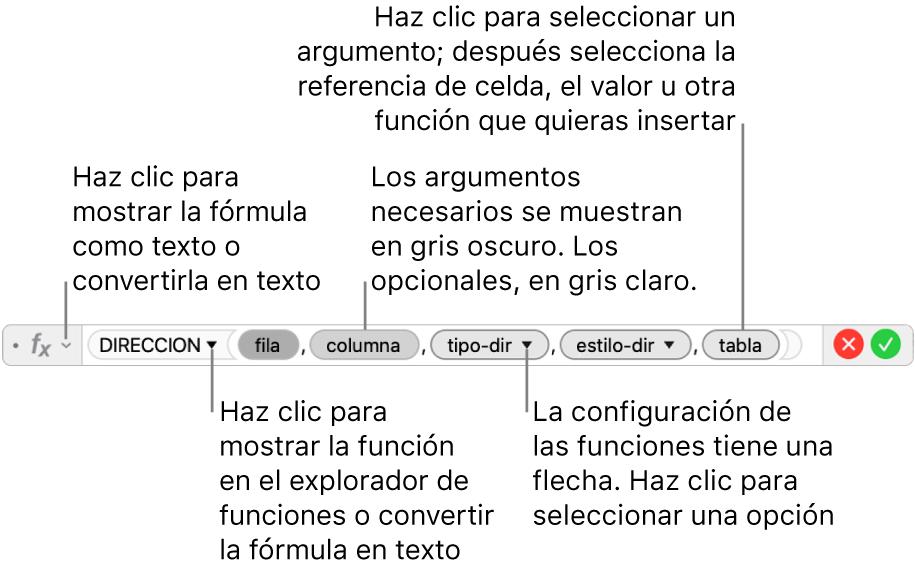 Editor de fórmulas con la función DIRECCION y sus identificadores de argumentos.