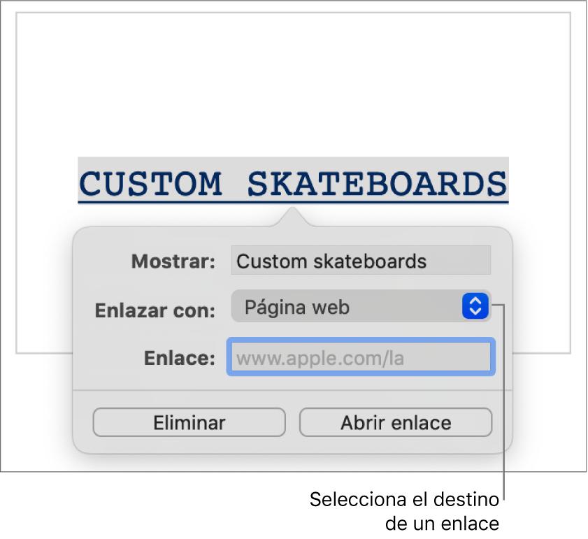 """Los controles del editor de enlaces con un campo Mostrar, el menú desplegable """"Enlazar a"""" (""""Sitio web"""" está seleccionado) y el campo Enlace. Los botones """"Eliminar enlace"""" y """"Abrir enlace"""" se encuentran en la parte inferior de los controles."""