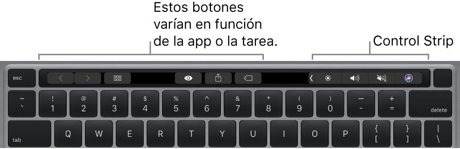 Un teclado con la TouchBar encima de las teclas numéricas. Los botones para modificar el texto se sitúan a la derecha y en el medio. Control Strip, a la derecha, incluye controles del sistema para controlar el brillo, el volumen y Siri.