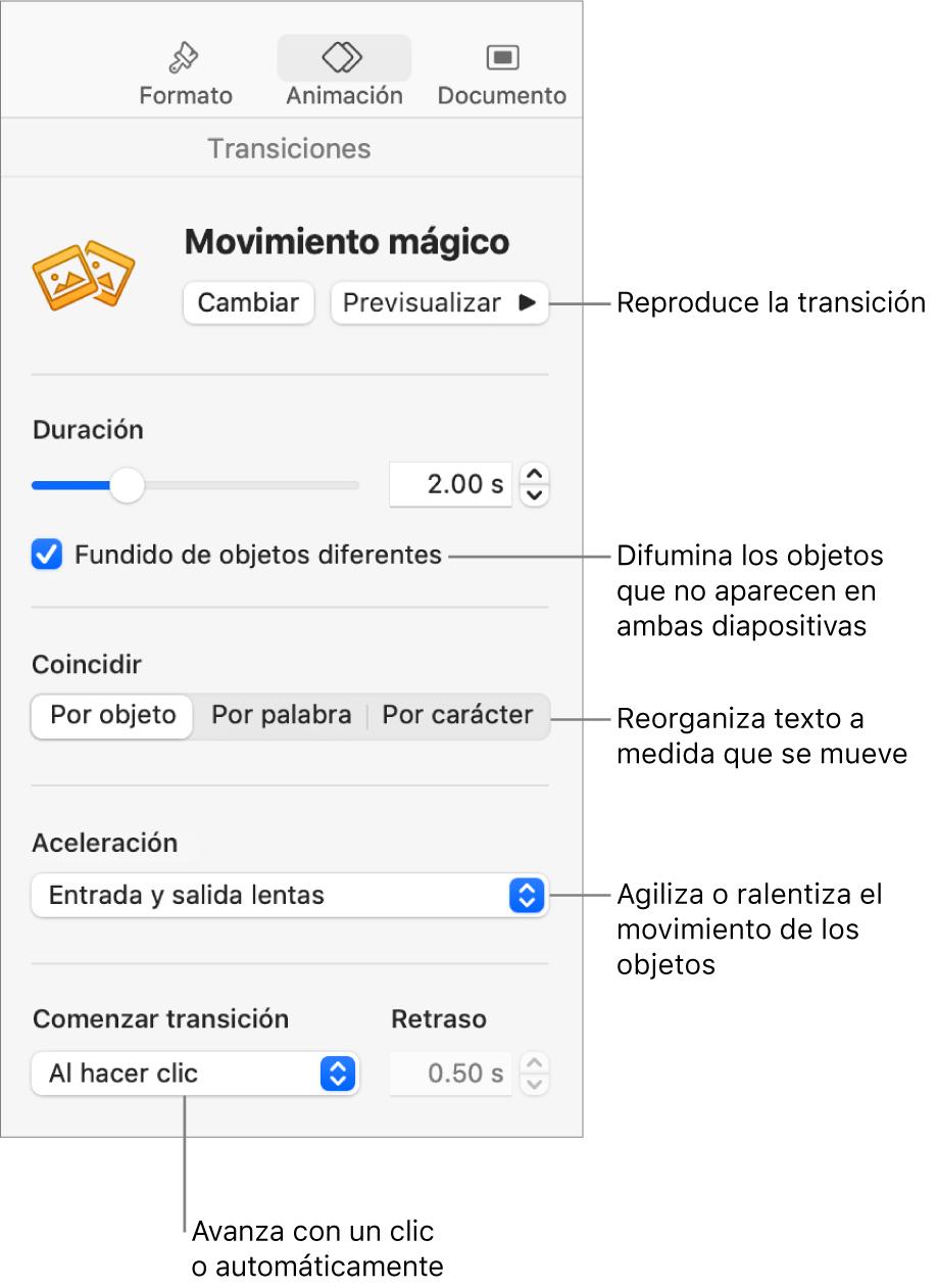 """Controles de la transición """"Movimiento mágico"""" en la sección Transiciones de la barra lateral Animación."""
