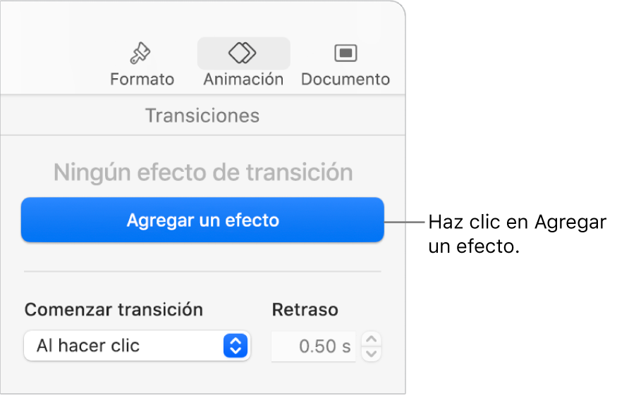 """Botón """"Agregar un efecto"""" en la sección Animación de la barra lateral."""