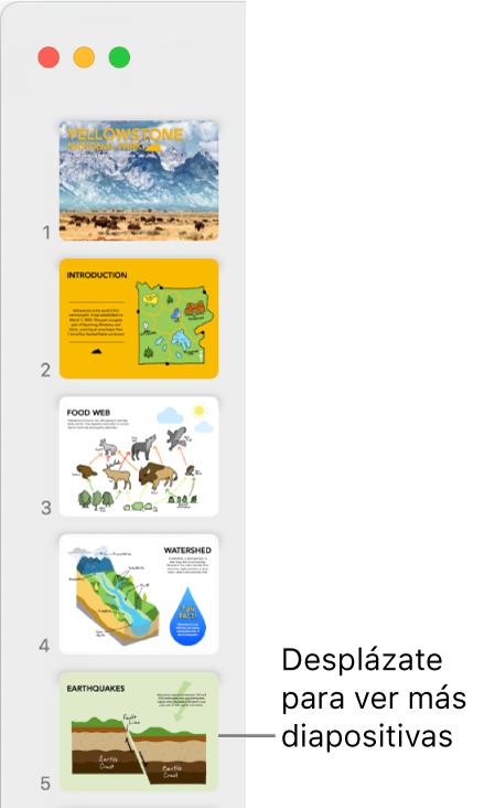 El navegador de diapositivas representando cinco diapositivas verticalmente en orden secuencial, con la opción para desplazarte para ver más diapositivas.