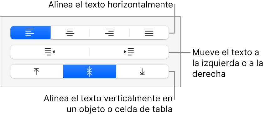 La sección Alineación de la barra lateral con botones para alinear el texto horizontalmente, mover el texto a izquierda o derecha y alinear el texto verticalmente.