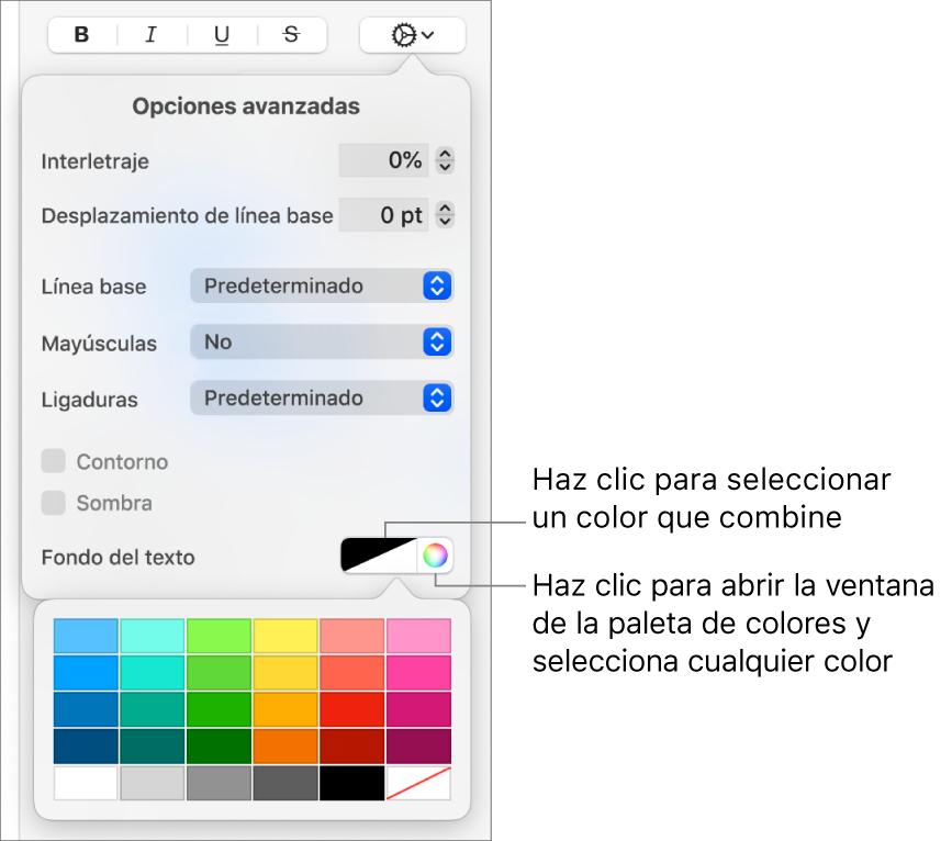 Controles para elegir un color de fondo de texto.