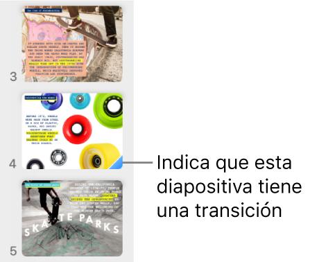 Un triángulo azul sobre una diapositiva indica que la diapositiva posee una transición.
