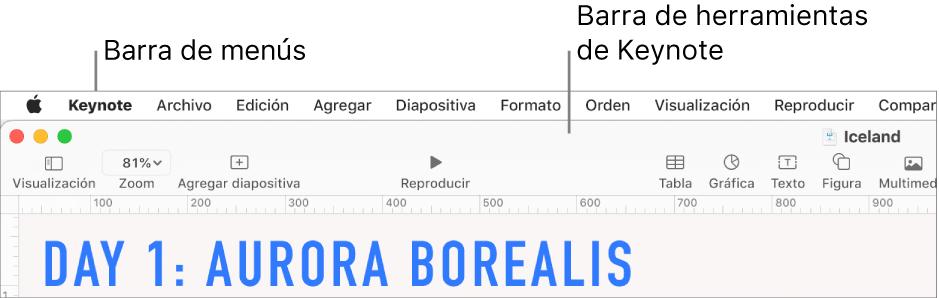 La barra de menús en la parte superior de la pantalla con los menús Apple, Keynote, Archivo, Edición, Insertar, Formato, Ordenar, Visualización, Compartir, Ventana y Ayuda. Debajo de la barra de menús se encuentra una presentación de Keynote abierta con botones de la barra de herramientas a lo largo de la parte superior, con las opciones Visualización, Zoom, Agregar diapositiva, Reproducir, Keynote Live, Tabla, Gráfica, Texto, Figura, Contenido y Comentarios.