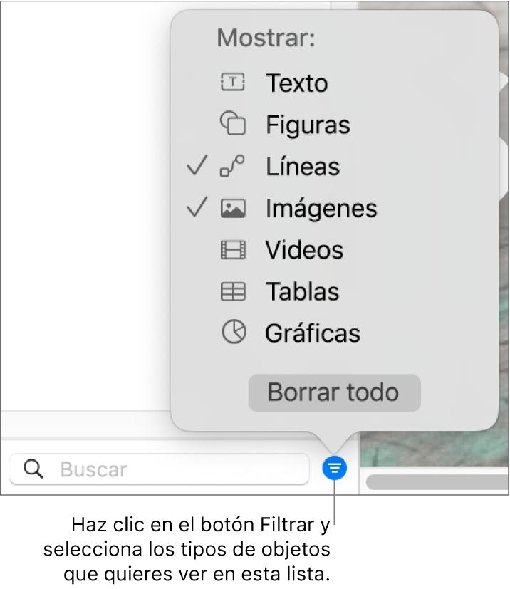 El menú desplegable Filtrar abierto, con una lista de los tipos de objeto que puedes incluir la lista (texto, formas, líneas, imágenes, videos, tablas y gráficas).