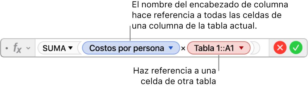 El editor de fórmulas con una fórmula que hace referencia a una columna de una tabla y una celda de otra tabla.