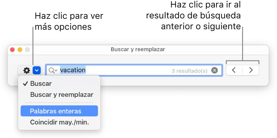"""La ventana """"Buscar y reemplazar"""" con un globlo en el botón para mostrar más opciones, correspondientes a """"Buscar"""", """"Buscar y reemplazar"""", """"Reemplazar"""", """"Palabras enteras"""" y """"Coincidir may./min."""". Las flechas de la derecha te permiten ir a los resultados de búsqueda anteriores o siguientes."""