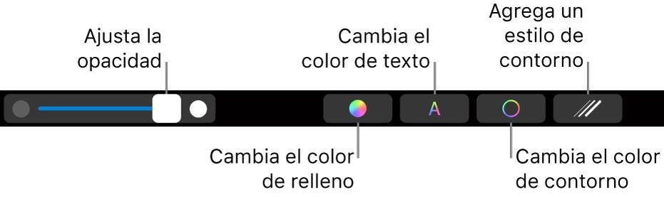 La Touch Bar de la MacBook Pro con controles para ajustar la opacidad de una figura, cambiar el color de relleno, el color del texto y cambiar el estilo y el color del contorno.