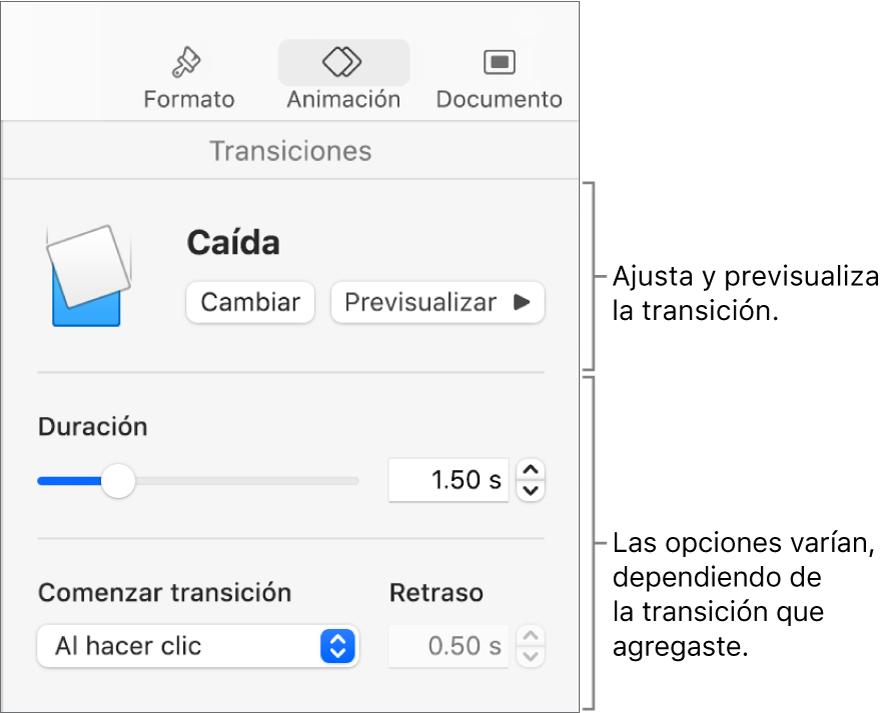 Controles de transiciones en la sección Transiciones de la barra lateral.