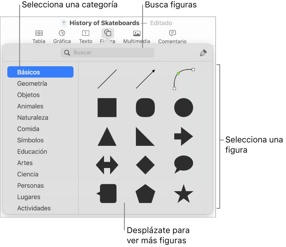 La biblioteca de figuras, con las categorías enumeradas a la izquierda y las figuras mostradas a la derecha. Puedes usar el campo de búsqueda de la parte superior para buscar figuras o desplazarse para ver más.