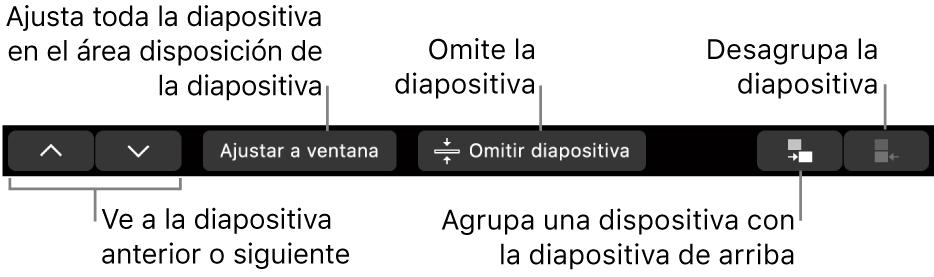 La Touch Bar de la MacBook Pro con controles para navegar hacia la diapositiva anterior o siguiente, ajustar la diapositiva al área de disposición de diapositiva, omitir una diapositiva y agrupar o desagrupar diapositivas.