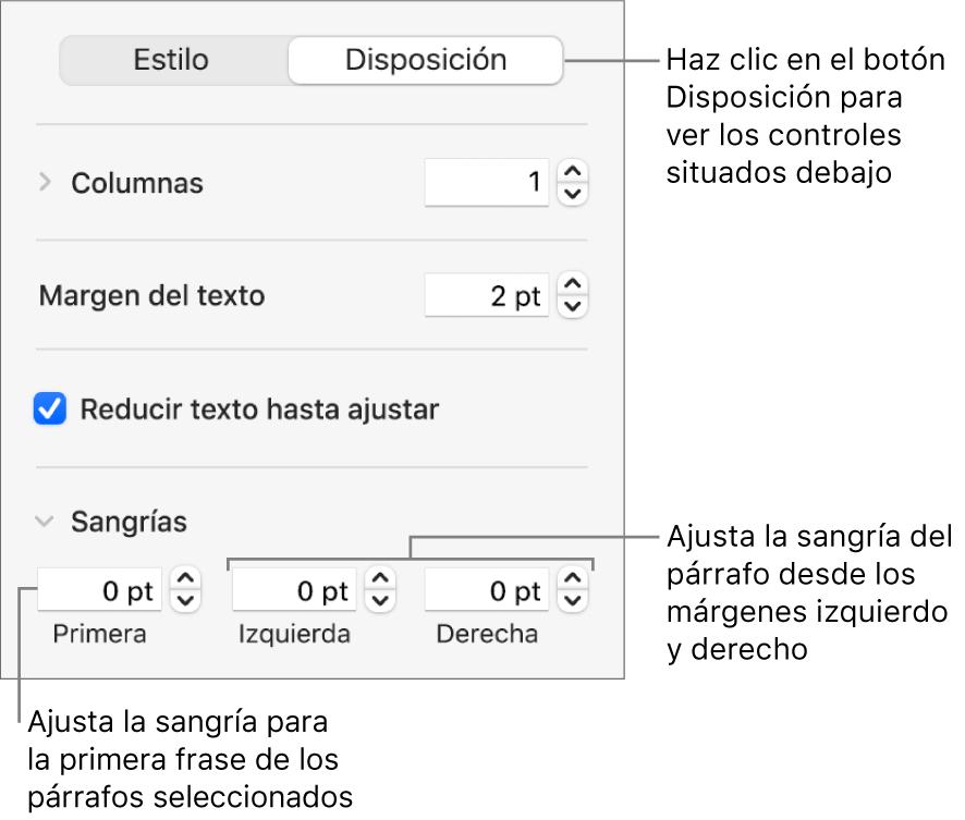 La sección Disposición de la barra lateral Formato con controles para ajustar la sangría de la primera línea y los márgenes de párrafo.
