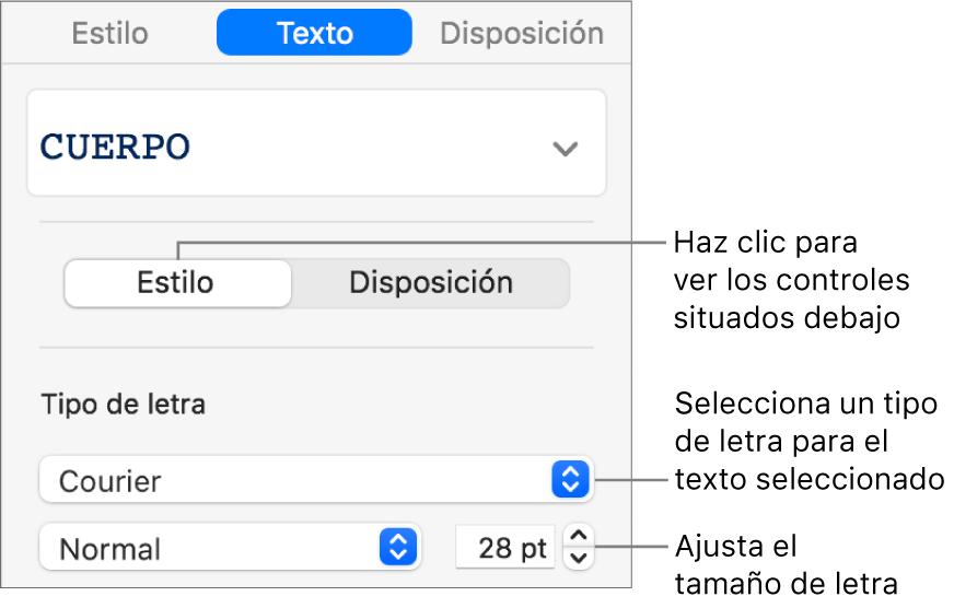 Controles de texto de la sección Estilo de la barra lateral para ajustar el tamaño y el tipo de letra.