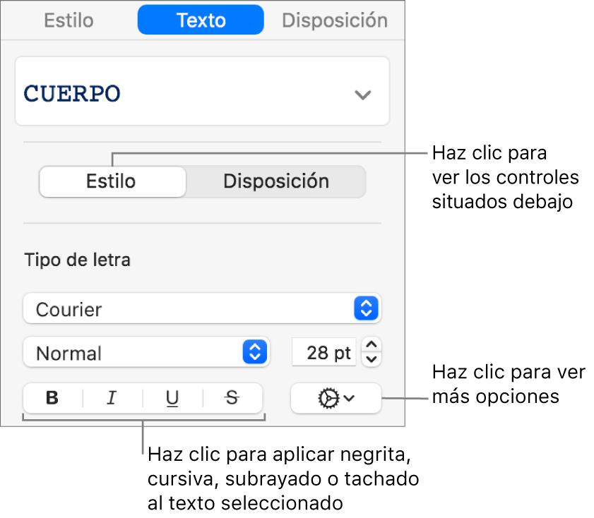 Los controles de Estilo de la barra lateral con llamadas a los botones de Negrita, Cursiva, Subrayado y Tachado.