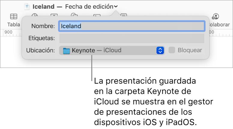 El cuadro de diálogo Guardar para una presentación en Keynote, con iCloud seleccionado en el menú desplegable Ubicación.