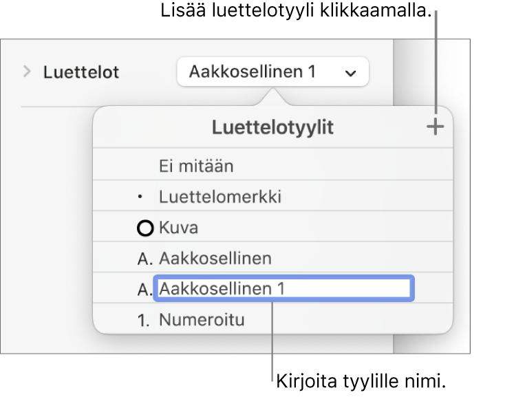 Luettelotyylit-ponnahdusvalikko, jossa oikeassa yläkulmassa on lisäyspainike ja paikanvaraajatyylin nimi, jonka teksti on valittuna.