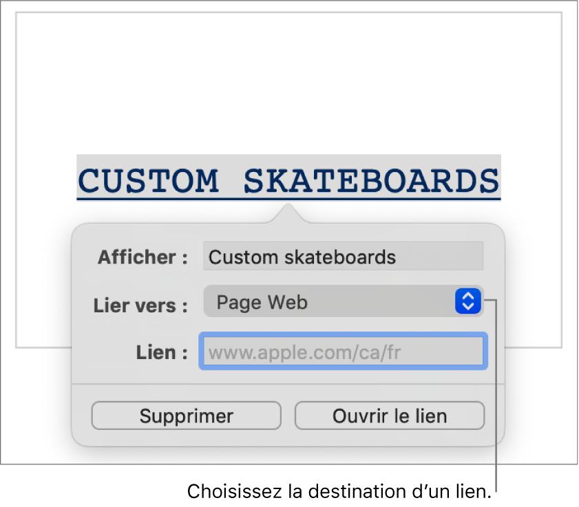 Les commandes de l'éditeur de liens avec les champs Affichage et Lien ainsi que le menu contextuel Liens vers (destination: Page Web). Les boutons Supprimer et Ouvrir le lien se trouvent au bas des commandes.