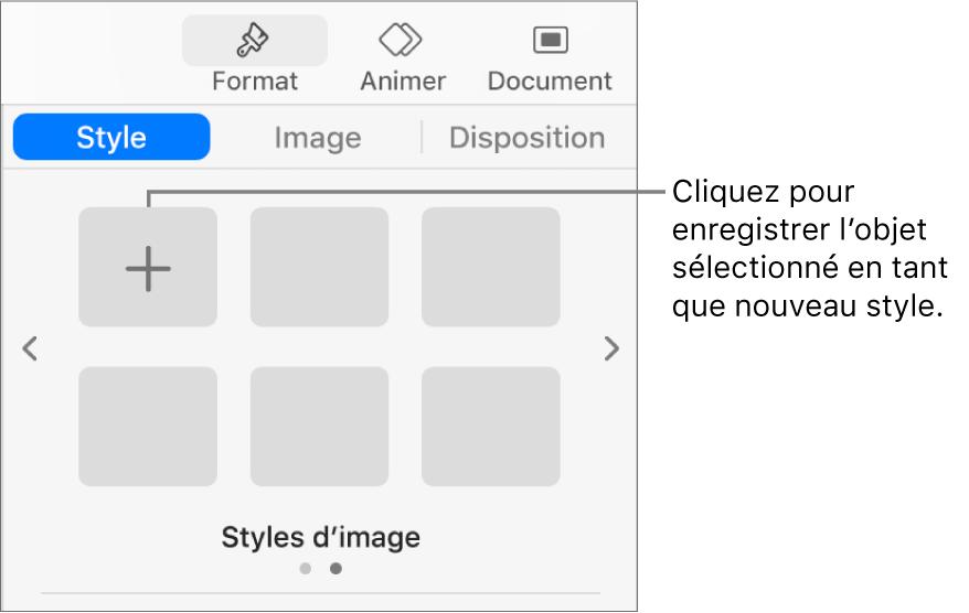 OngletStyle de la barre latéraleFormat avec boutonCréerunstyle à droite et quatre paramètres fictifs de style vides.