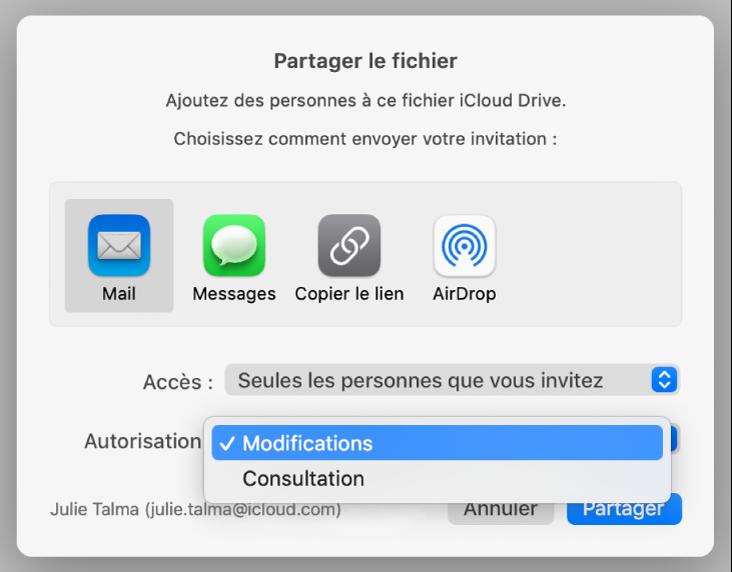 Zone de dialogue de collaboration avec le menu contextuel Autorisation ouvert et l'option «Modifications» sélectionnée.