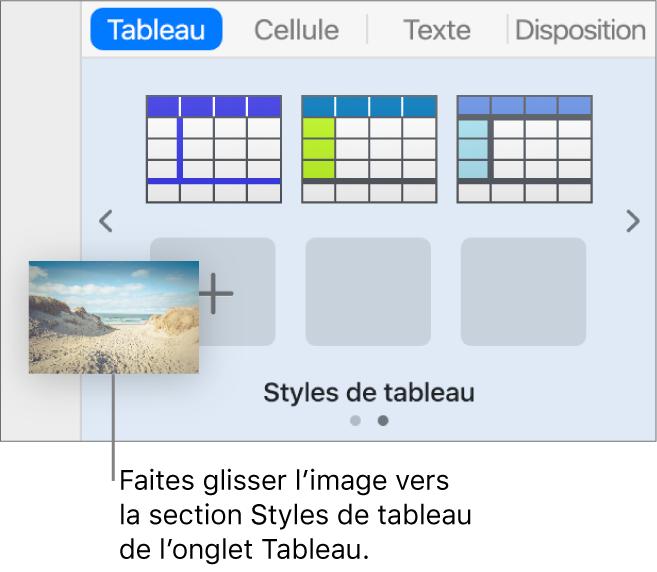 Glissage d'une image vers les styles de tableau pour créer un nouveau style.