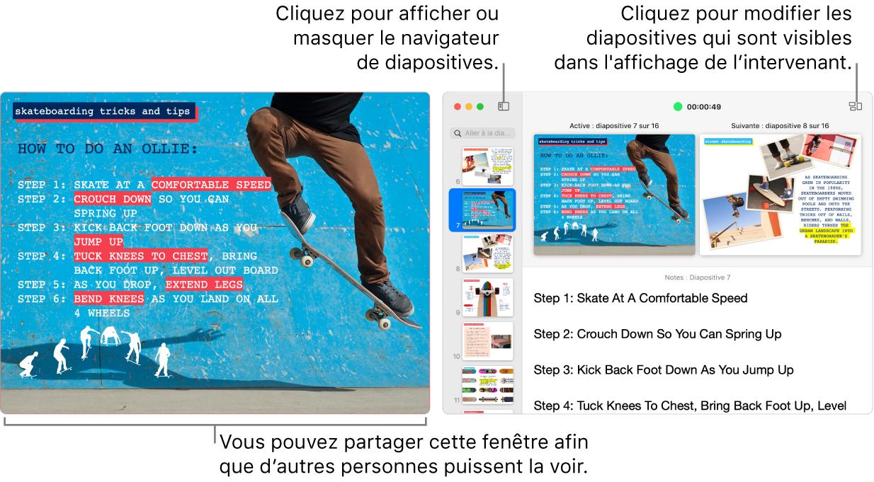Une présentation Keynote affichée dans une fenêtre avec l'affichage du présentateur dans une seconde fenêtre qui contient le navigateur de diapositives, les notes du présentateur et l'aperçu des diapositives.