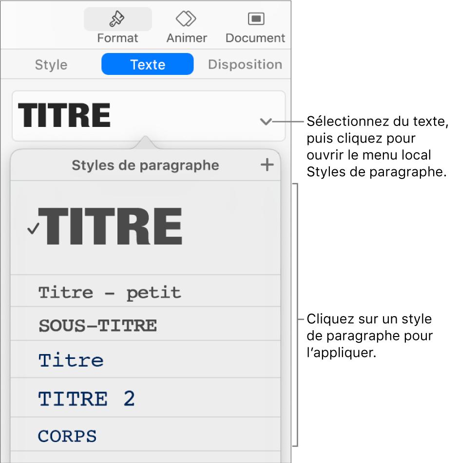 Le menu Styles de paragraphe avec une coche située à côté du style sélectionné.