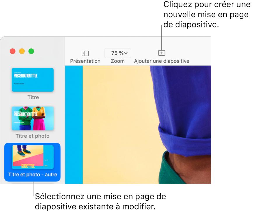 Une disposition de diapositive qui s'affiche dans la zone de disposition de la diapositive, avec le bouton Ajouter une diapo au-dessus dans la barre d'outils.