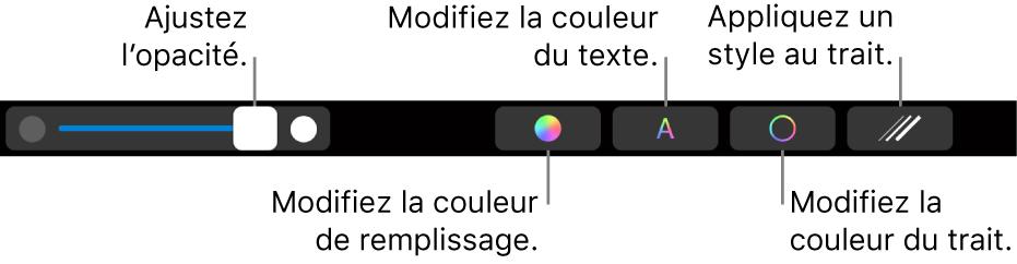 La TouchBar du MacBookPro avec des commandes permettant d'ajuster l'opacité d'une figure et de modifier la couleur de remplissage, la couleur du texte, ainsi que la couleur et le style du contour.