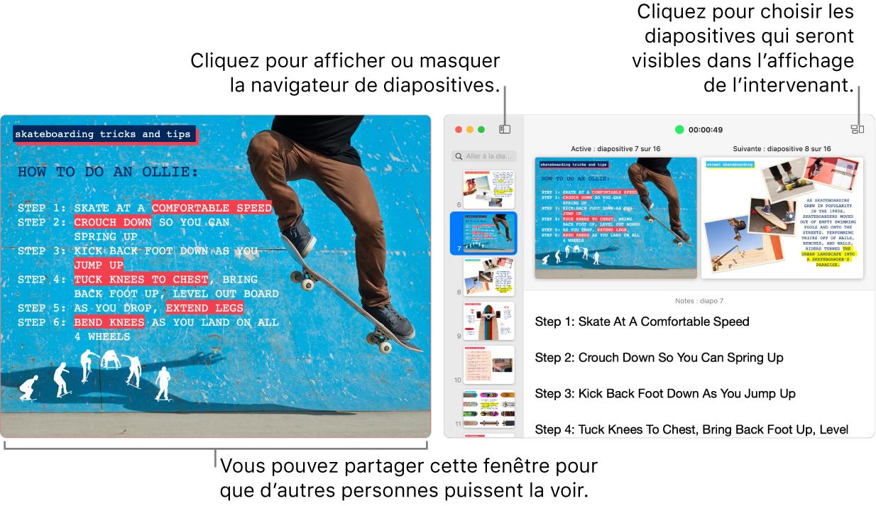 Une présentation Keynote affichée dans une fenêtre, avec l'affichage de l'intervenant dans une deuxième fenêtre contenant le navigateur de diapositives, les notes de l'intervenant et un aperçu de la diapositive.